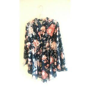 Blush tie front floral dress SZ XL J3